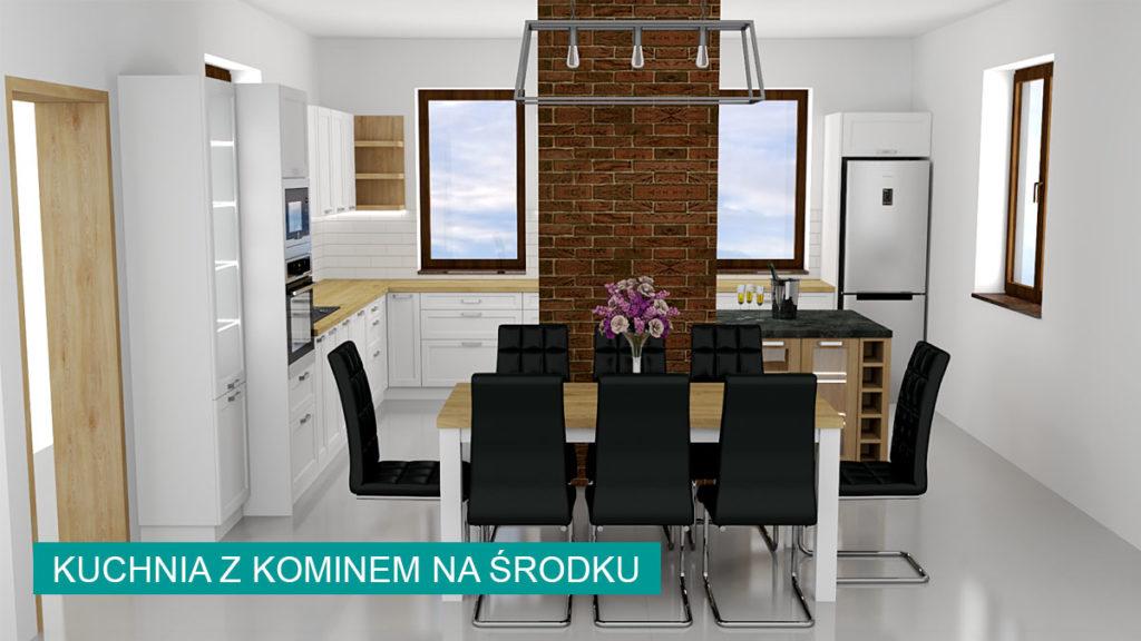 Biała kuchnia z kominem na środku   koncept3d projekty kuchni