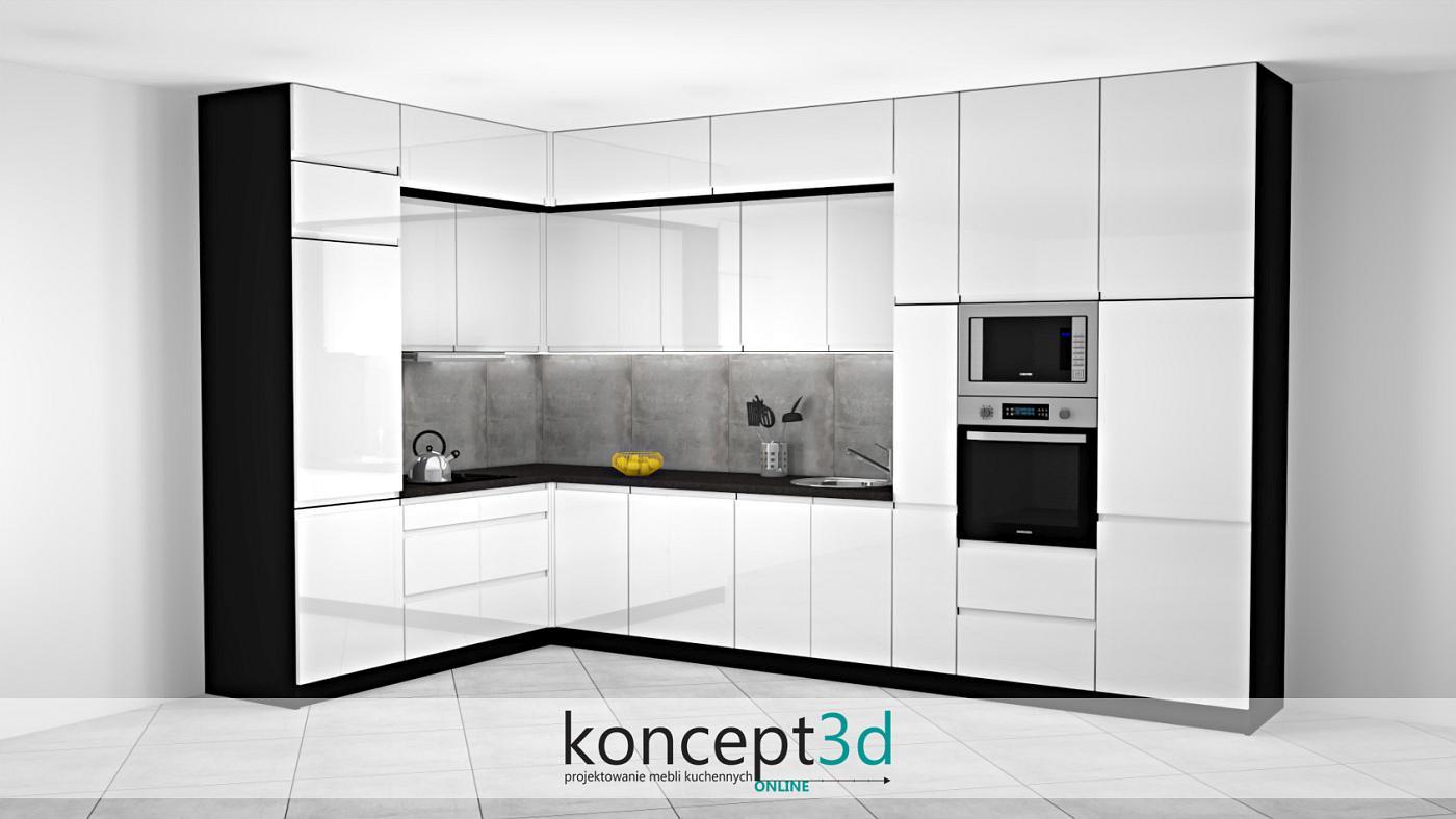 Biała kuchnia w L to często powtarzający się układ   koncept3d meble na wymiar