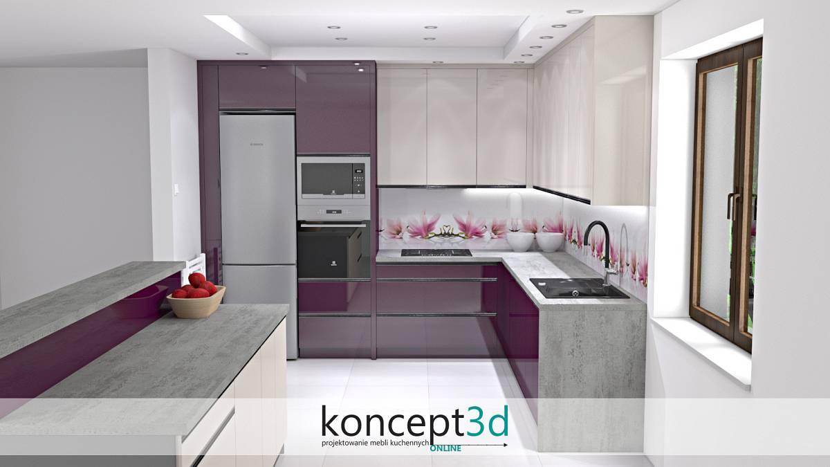 Ciekawy motyw kwiatów nad blatem w kuchni - projekty mebli kuchennych koncept3d