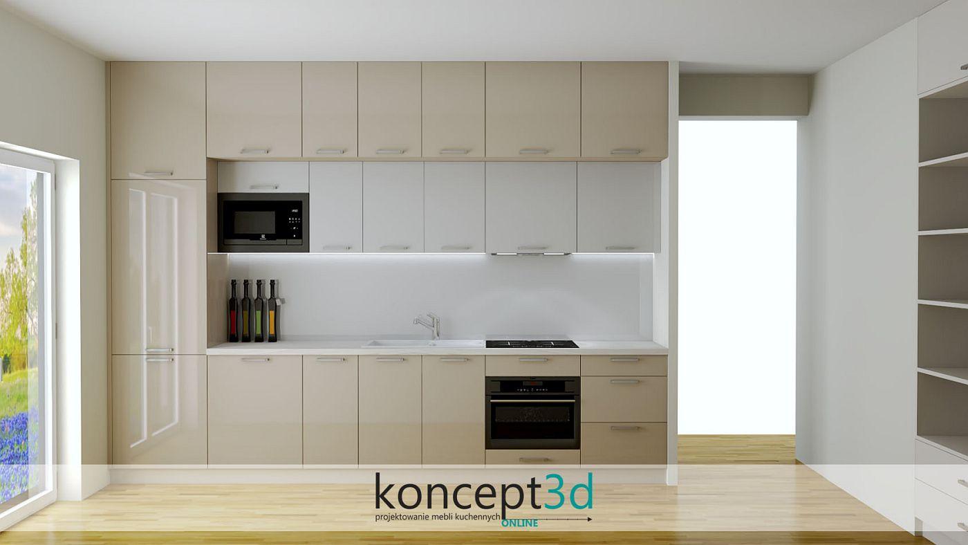 Kuchnia w I z czarną mikrofala i dwoma głębokościami górnych szafek | koncept3d projekty kuchni