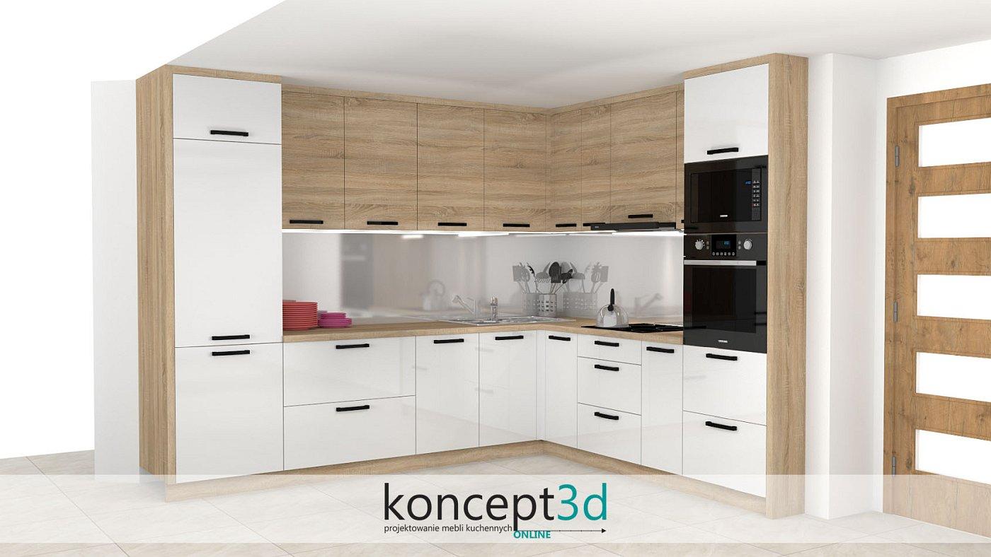 Czarne uchwyty w białych meblach kuchennych z drewnianymi dodatkami