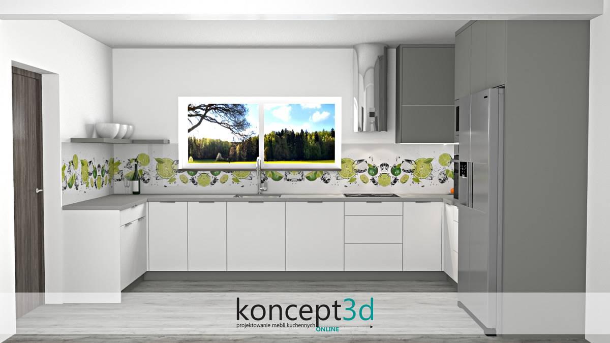 Projekt mebli kuchennych z grafiką na ścianie - zielone limonki nad blatem | koncept3d