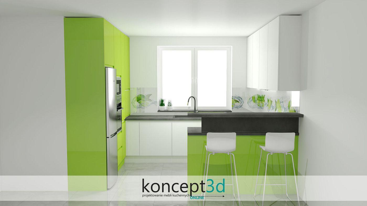 Kuchnia w kolorze limonki w połączeniu z białym lakierem | koncept3d projekty kuchni