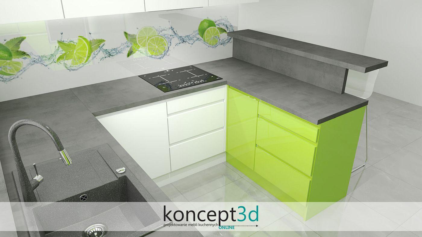 Limonkowy półwysep w białej kuchni z ladą do siedzenia | koncept3d meble na wymiar