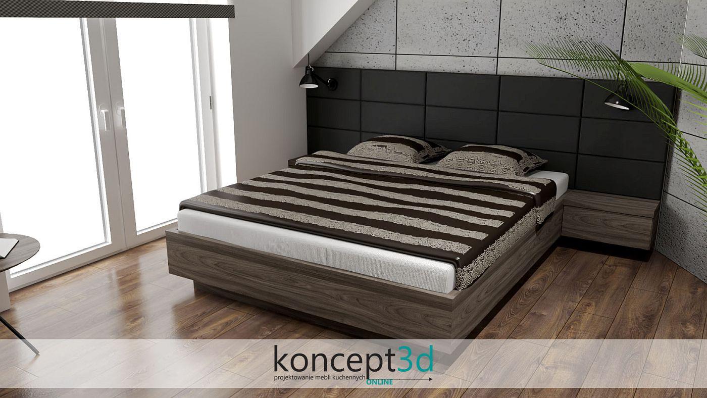 Łóżko z ciemnego drewna z czarną tapicerką przy ścianie | koncept3d biertowice