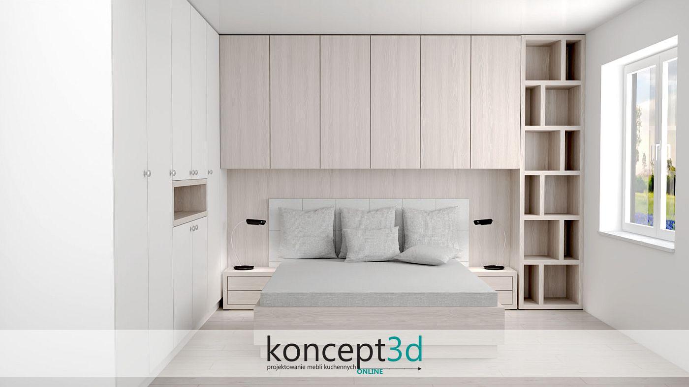 Łóżko na wymiar z otwartym regałem z lewej strony | koncept3d