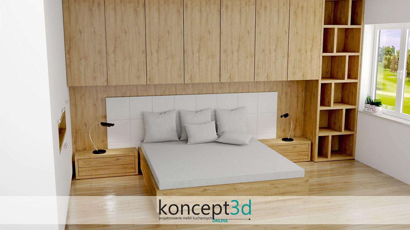 Drewniane łóżko w sypialni z białymi, tapicerowanymi panelami | koncept3d łóżka na wymiar
