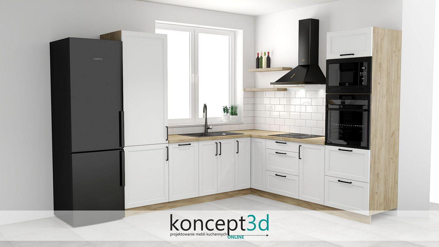 Projekt małej kuchni w kształcie litery L z drewnem i czarnymi uchwytami | koncept3d projekty kuchni