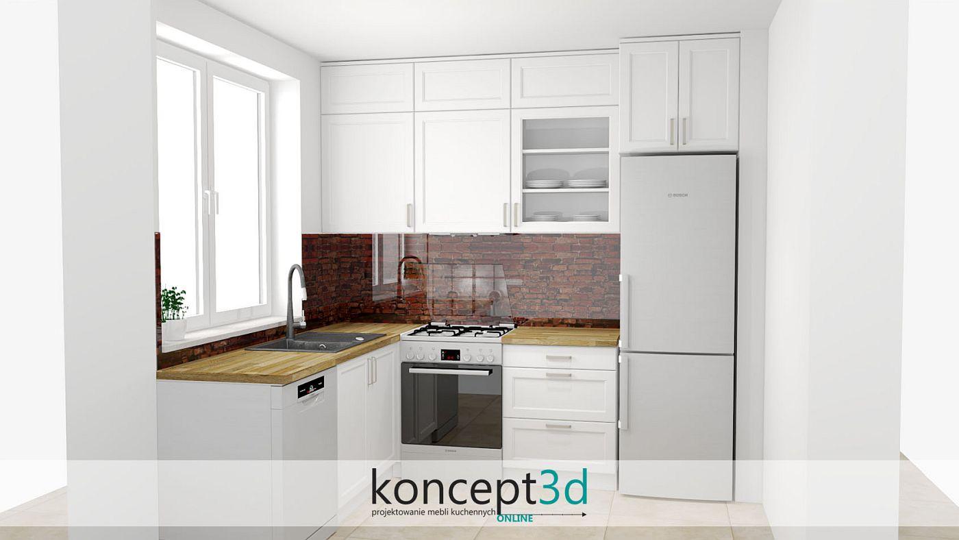 Mała kuchnia w białym lakierze z frezowanymi frontami i grafiką na ścianie