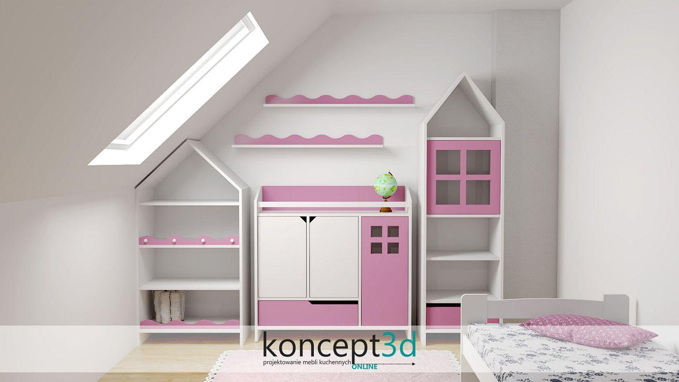 Projekt mebli w postaci zamku do pokoju małej dziewczynki | koncept3d
