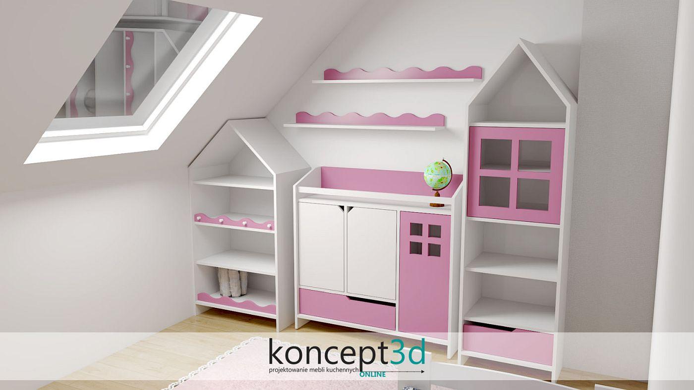 Pokój dziewczynki i biało różowe kolory mebli