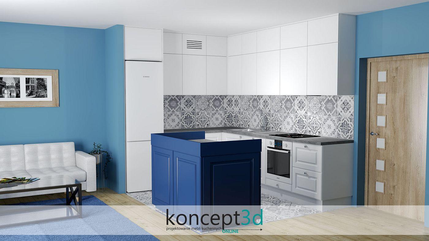 Wizualizacja kuchni z zastosowanymi małymi, greckimi płytkami nad drewnianym blatem | koncept3d gotowe projekty kuchni