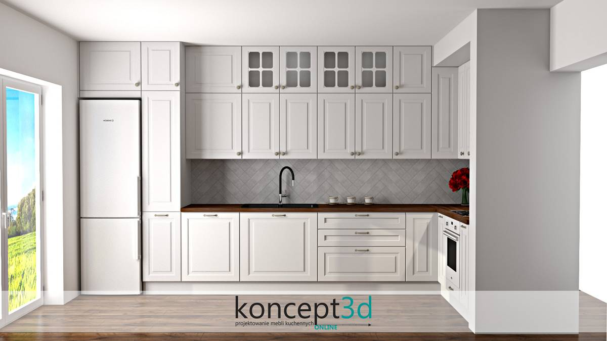 W tym projekcie kuchni zastosowaliśmy długie płytki układane w jodełkę. W tym momencie możemy sobie zadać pytanie: co na ścianę w kuchni zamiast płytek?