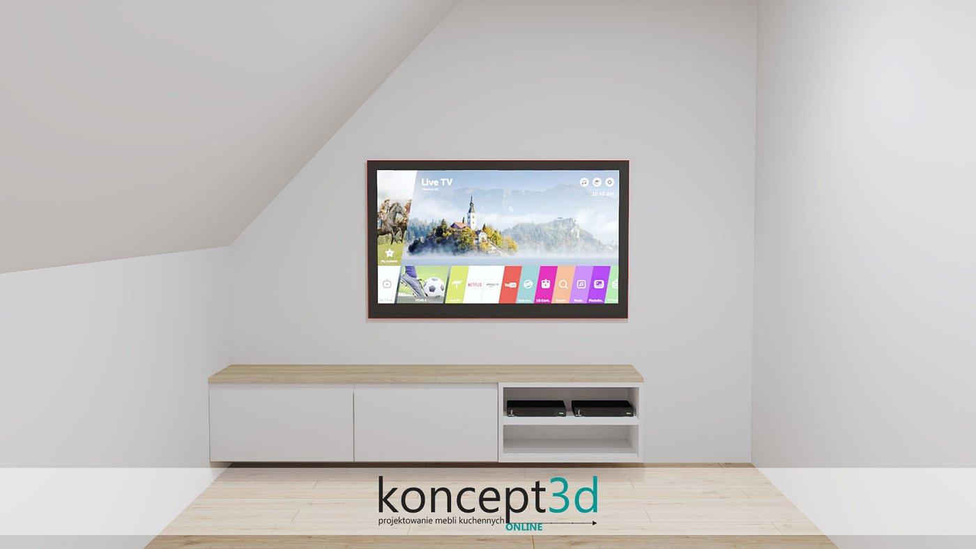 Aranżacja długiej, ale niskiej szafki pod TV z szufladami i miejscem na dekoder
