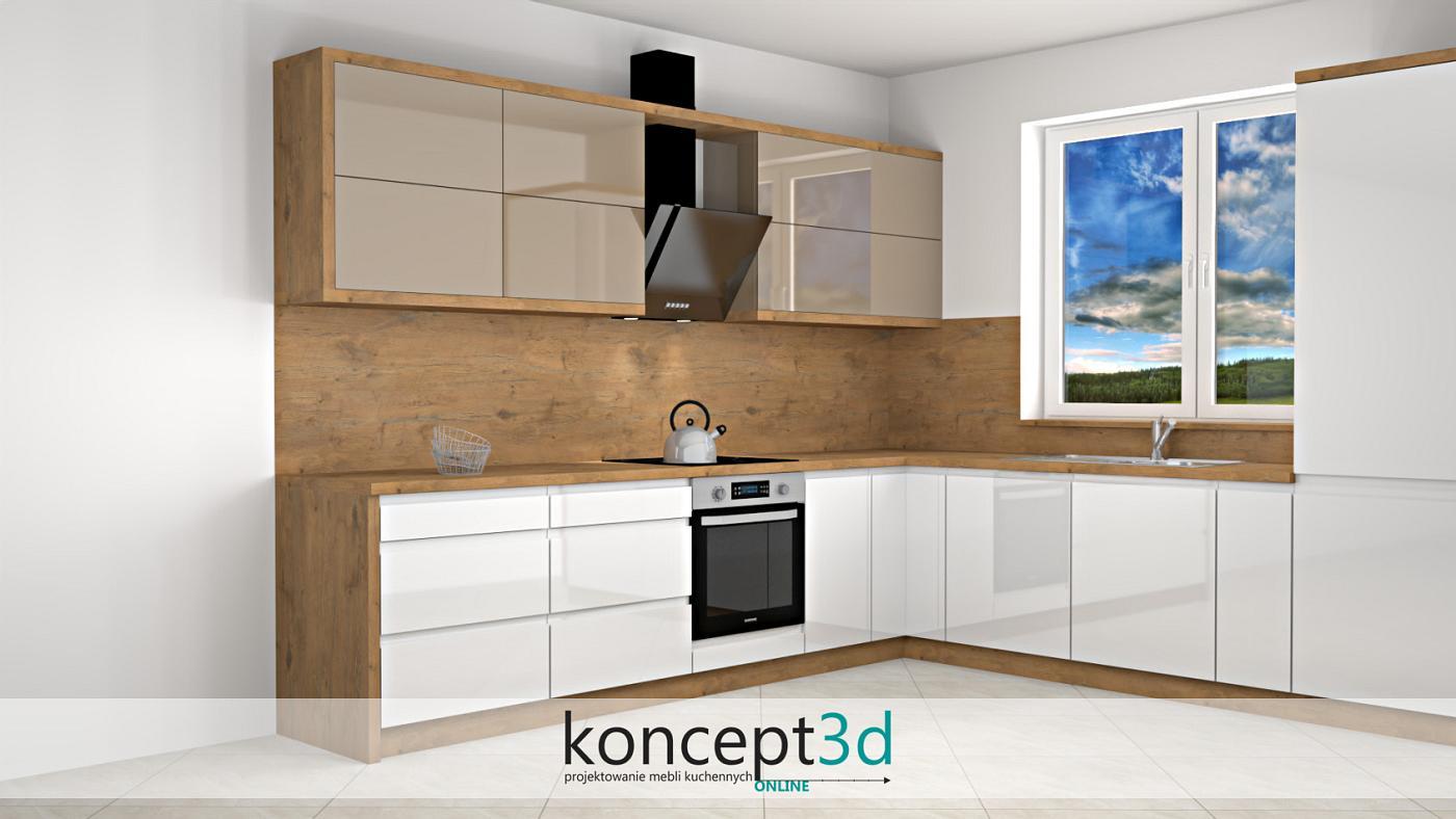 Kawa z mlekiem w połączeniu z bielą i drewnem   koncept3d projekty kuchni online