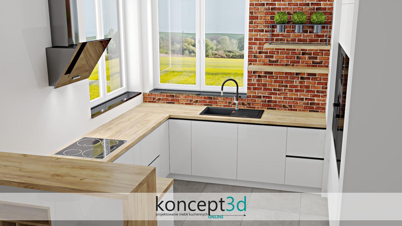 Blat oraz wiszące półeczki w dekorze dąb Craft Złoty K003 | koncept3d kuchnie na wymiar