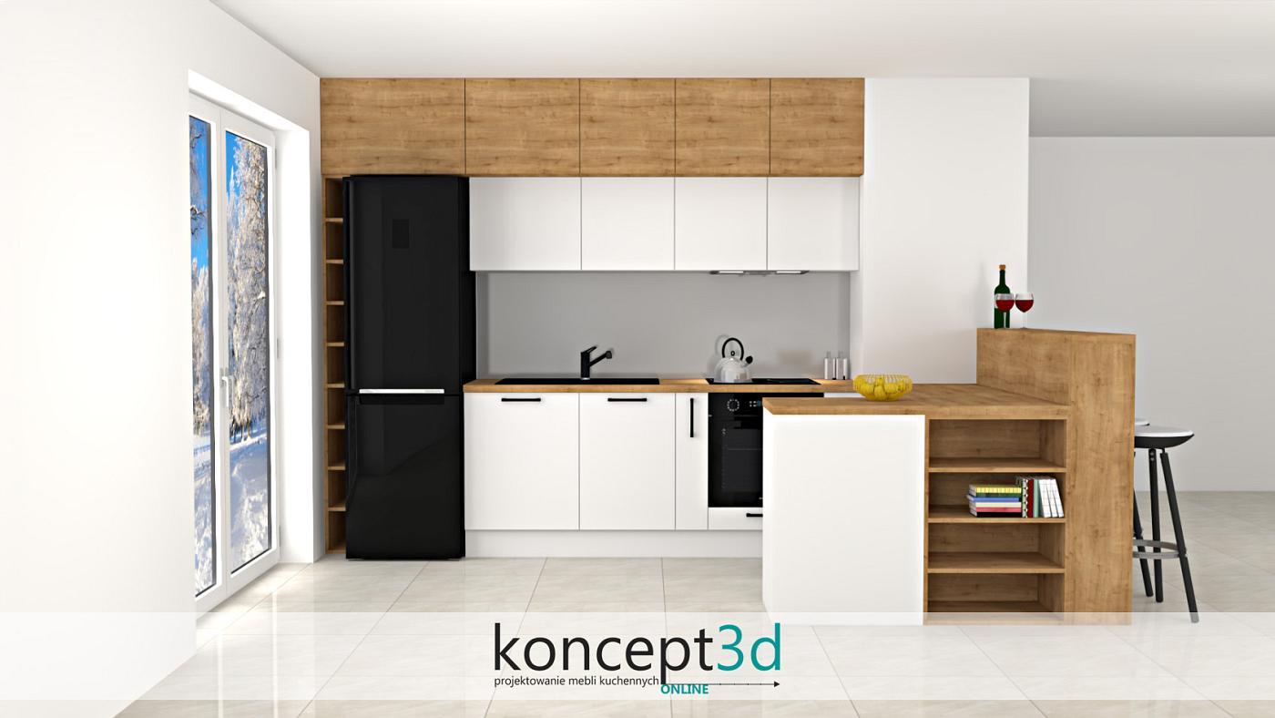 Kuchnia otwarta na salon z drewnianymi półkami na wino i książki   koncept3d projekty kuchni online
