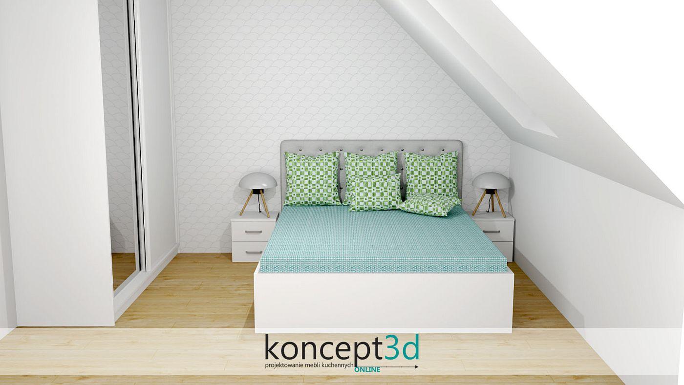 Białe łóżko z płyty z zielonymi poduszkami