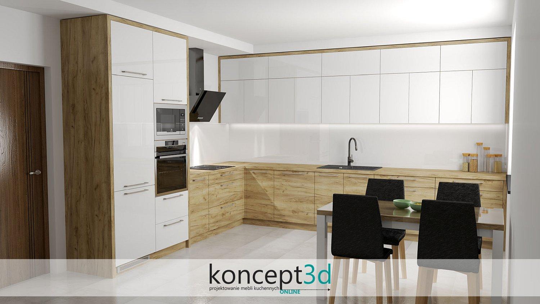 Drewno i biel w nowoczesnych meblach kuchennych | koncept3d projekty
