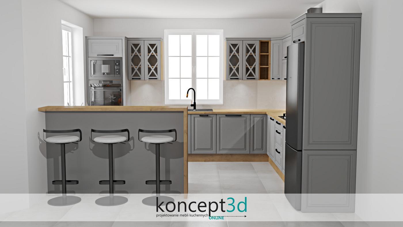 Szprosy w górnych witrynach wraz z laminowanym blatem dąb Lancelot   koncept3d projekty kuchni online