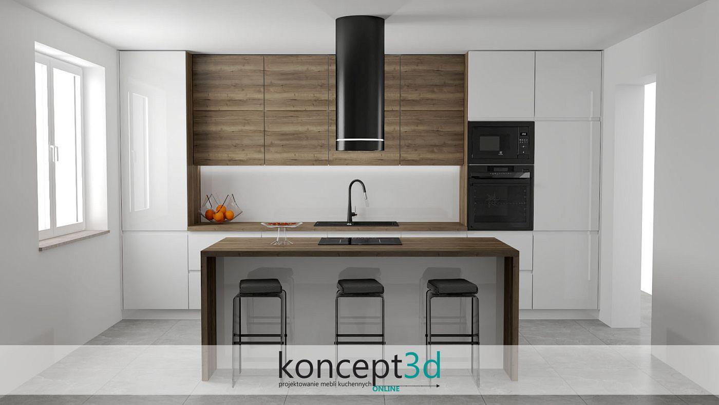 Piękna kuchnia w I z dużą wyspą i drewnianymi górnymi szafkami | koncept3d projekty kuchni