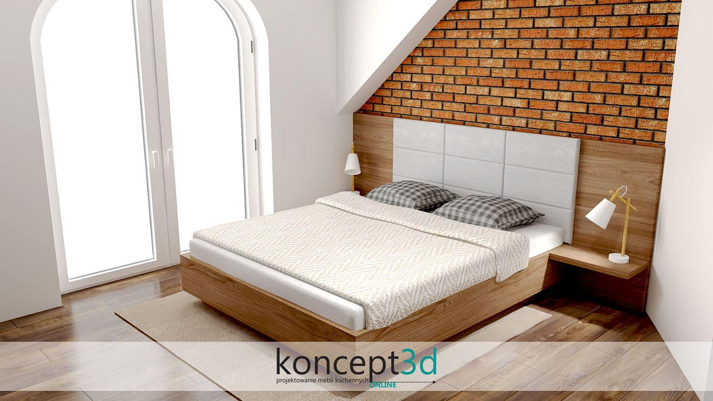 Drewniane łóżko do sypialni z panelami tapicerowanymi i cegłą na ścianie | koncept3d