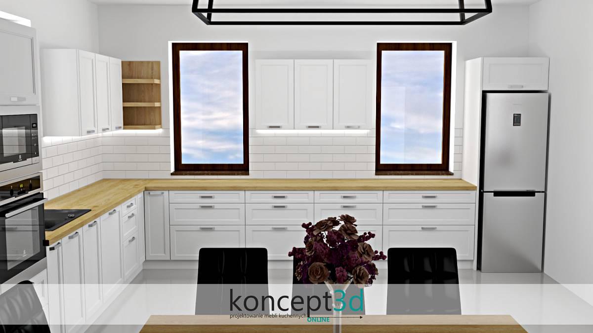 Projekt białych mebli kuchennych z ciemnymi oknami