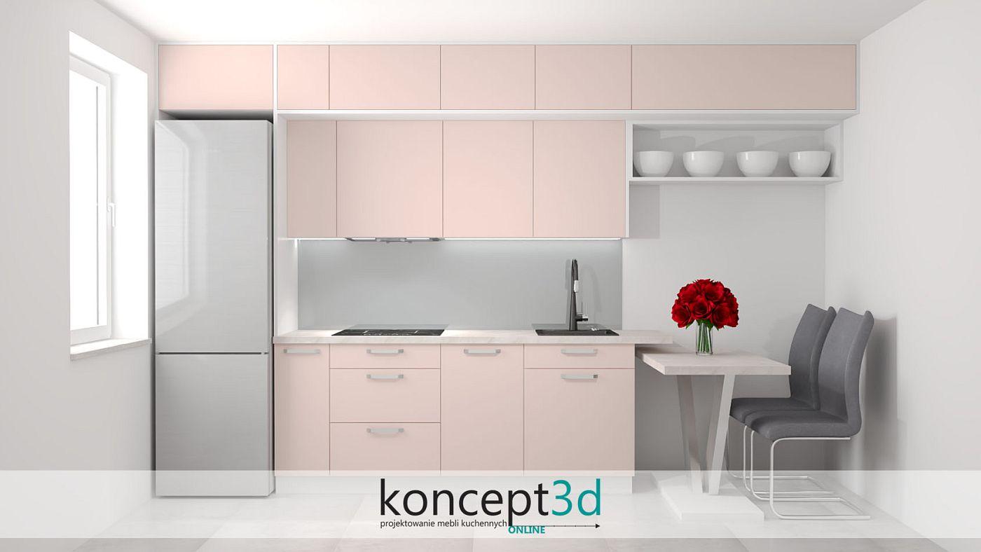 Różowa kuchnia na jednej ścianie ze stołem
