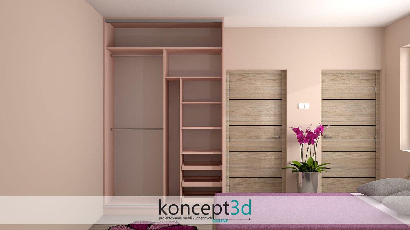 Różowa szafa z drzwiami suwanymi w sypialni dziewczynki   koncept3d projekty mebli kuchennych
