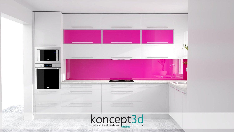 Lacobel w różowym kolorze zestawiony z białym połyskiem | projektowanie mebli Biertowice