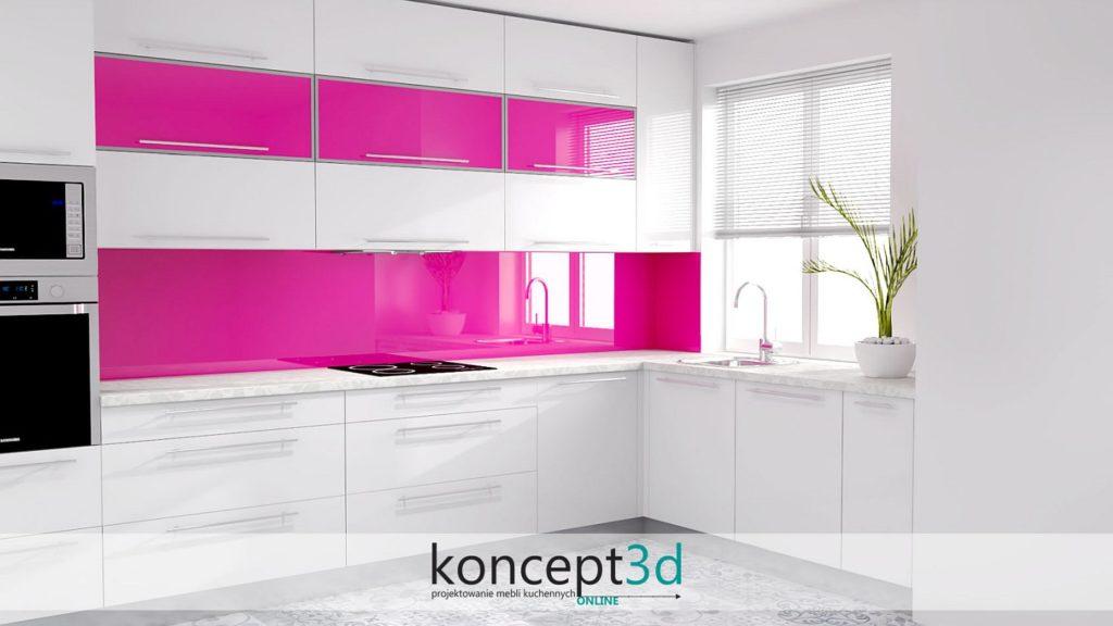 Różowe dodatki w białej kuchni | wizualizacje mebli koncept3d