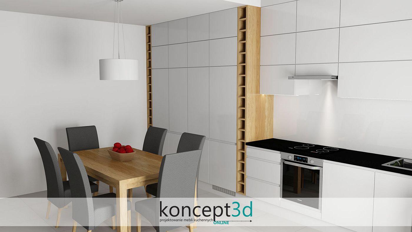 Odpowiedzią na pytanie kuchnia z wyspą czy stołem w tym wypadku był klasyczny, drewniany stół | koncept3d projekty kuchni