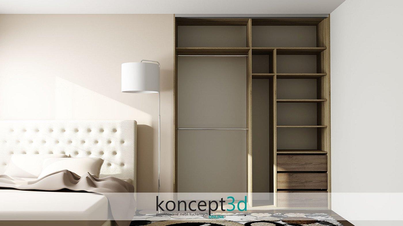 Zabudowa w sypialni obok łóżka i z wysoką lampą   koncept3d szafy na wymiar