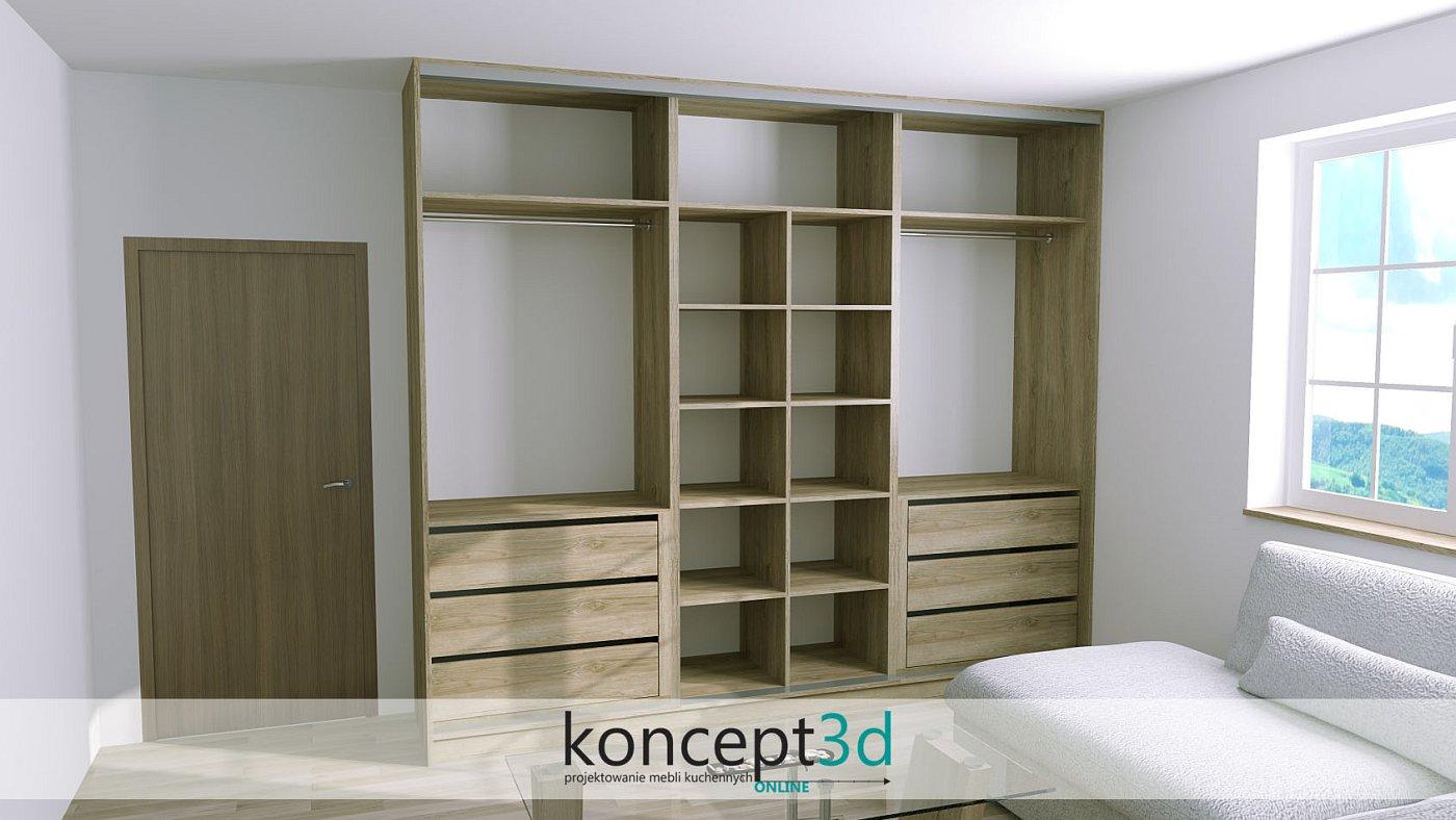 Projekt drewnianej szafy w salonie