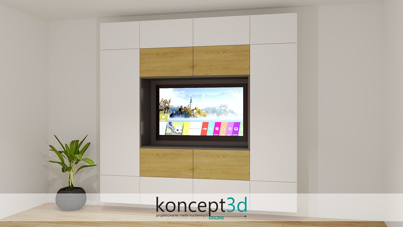 Duża zabudowa telewizora w białej szafce połączonej z drewnem i antracytem