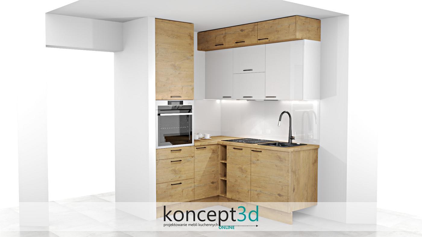 Mała kuchnia w kształcie litery L z głębszymi nadstawkami pod sufitem