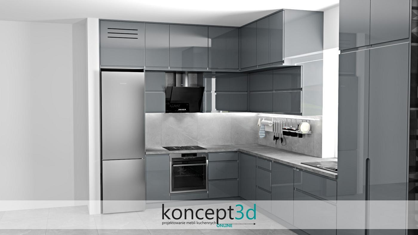 Projekt zakłada wolnostojącą lodówkę i stalowy piekarnik - kuchnia w L