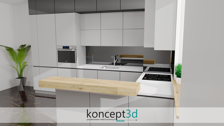 Szara kuchnia z białym blatem i pogrubianą ladą | koncept3d projektowanie mebli kuchennych
