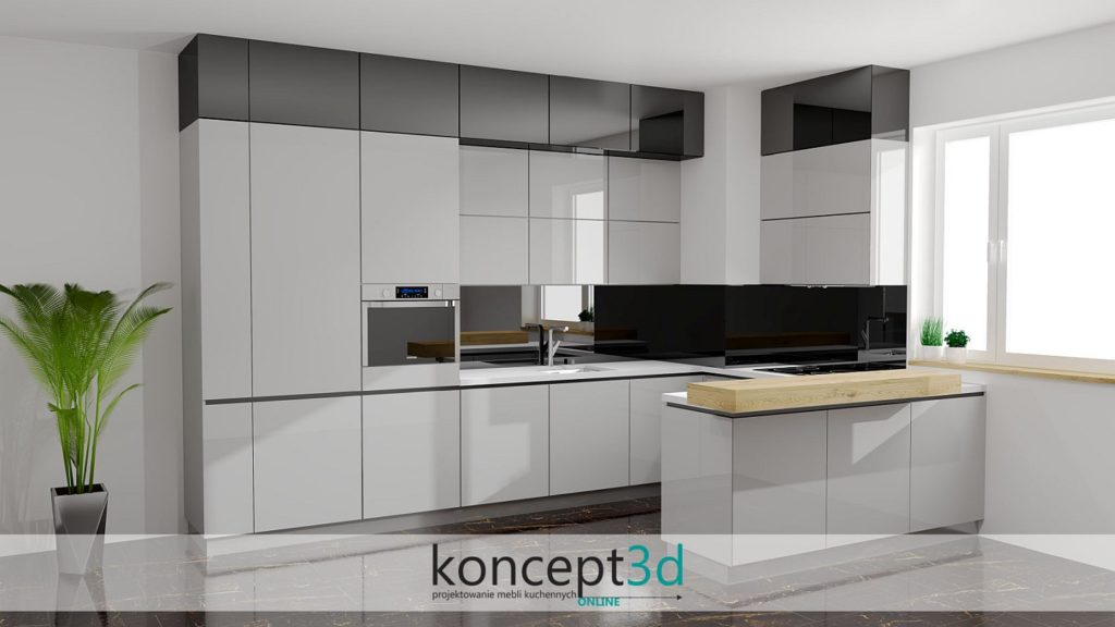 Aranżacja szarej kuchni połączonej z czarnym połyskiem i białym blatem | koncept3d projekty kuchni Biertowice