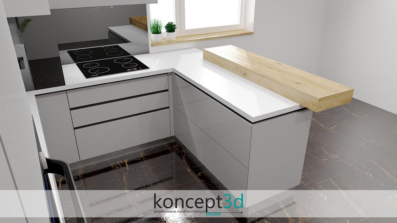 Kuchnia biało szara z drewnem ciekawa drewniana lada kuchenna położona na blacie | koncept3d meble na wymiar | szara nowoczesność w najczystszej postaci