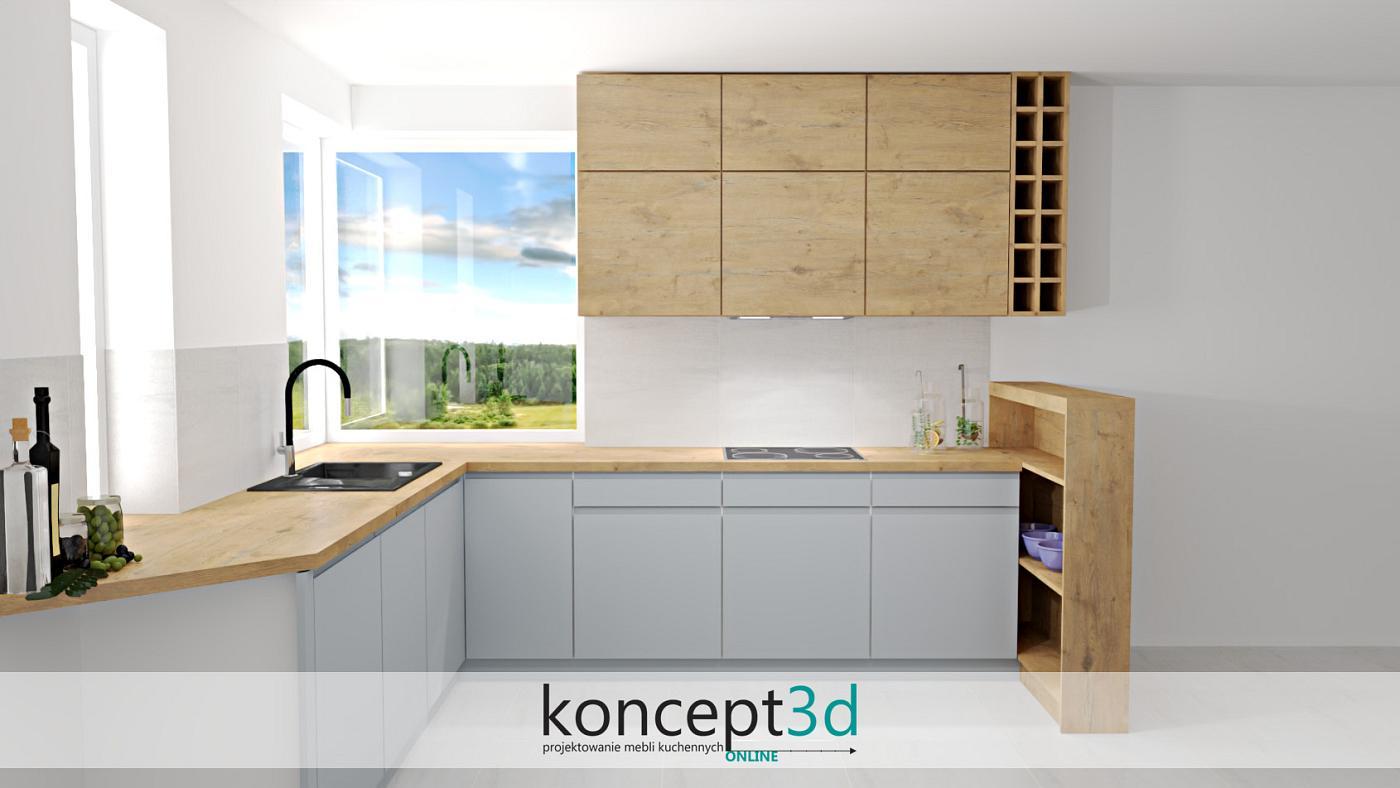 Jasny popiel połączony z drewnem to świeże spojrzenie na aranżację mebli kuchennych   koncept3d projekty kuchni online