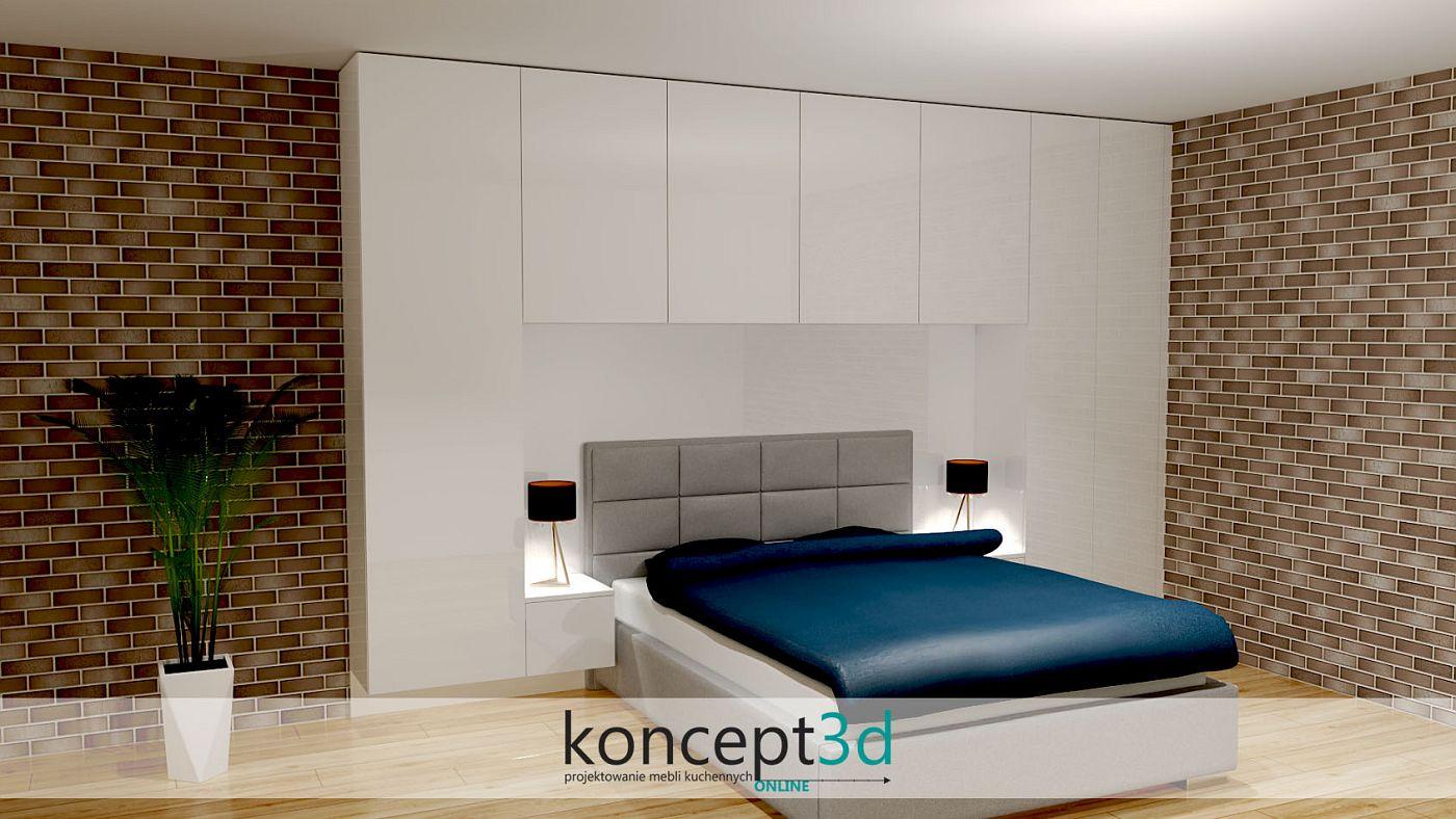 Tapiceorwane łóżko z lakierowanym panelm za zagłówkiem