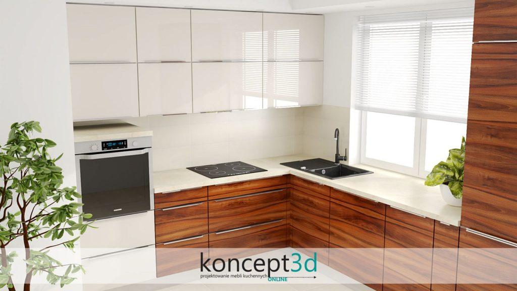 Kremowe szafki górne w kuchni połączone z drewnem | koncept3d Biertowice