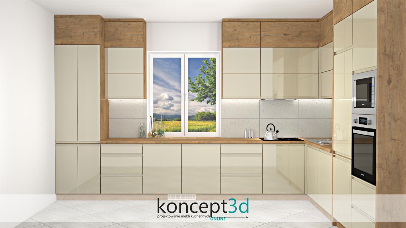 Bardzo duża kuchnia w L z szafkami wiszącymi zamontowanymi aż pod sam sufit   koncept3d meble na wymiar