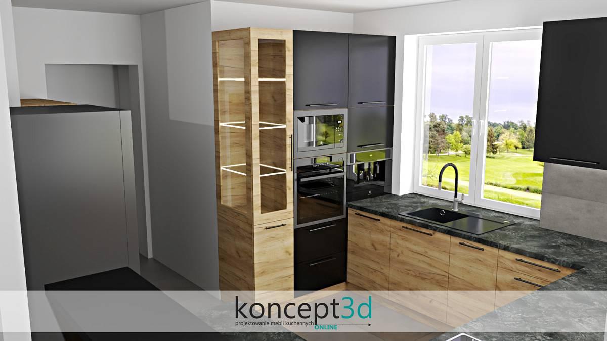 Drewniana witrynka z drewna dąb Craft Złoty | koncept3d kuchnie na wymiar