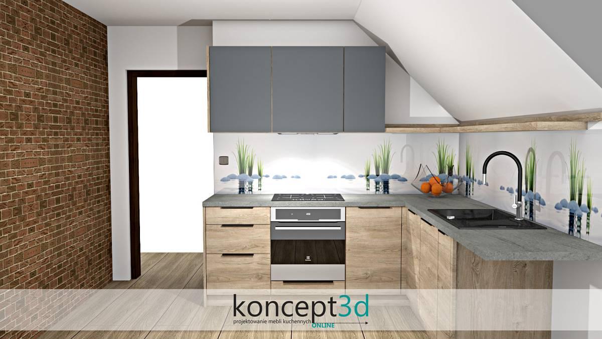 Ciekawy motyw szkła z grafiką na ścianie w kuchni