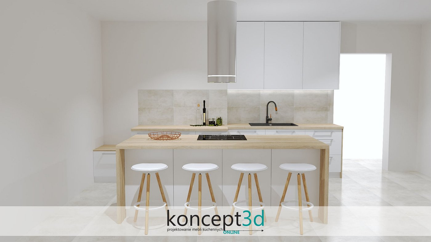 Długa wyspa kuchenna z drewnianymi dodatkami w formie lady do siedzenia   koncept3d projekty kuchni