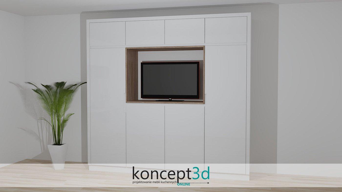 Telewizor z powodzeniem zabudować można w wysokiej szafie z drewnianymi ramkami