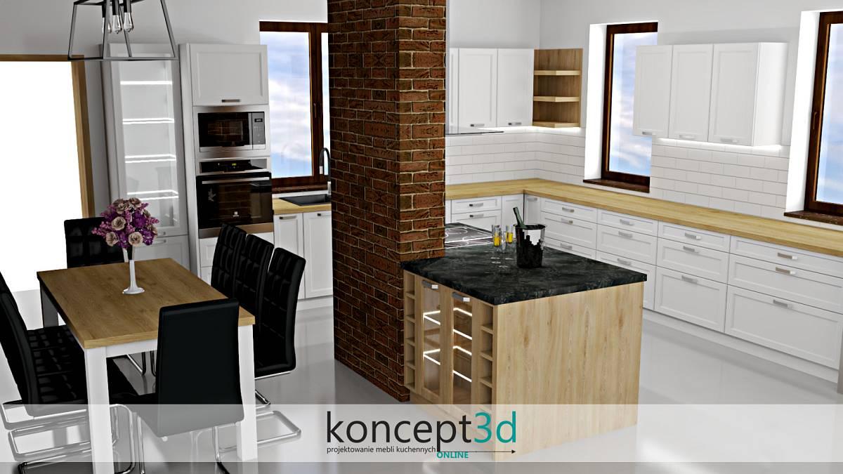 Projekt białej kuchni z ceglanym kominem na środku pomieszczenia   koncept3d projekty kuchni