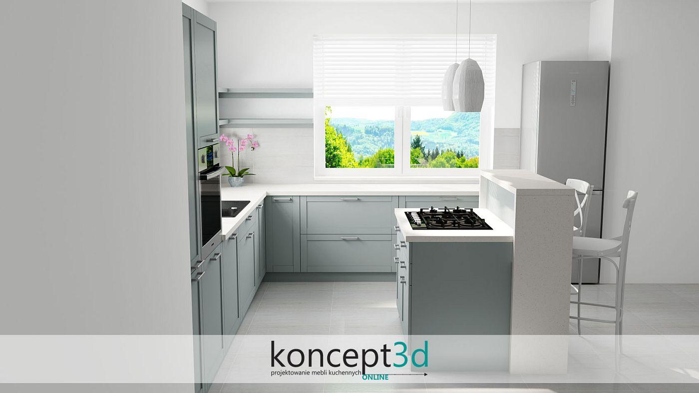 Miętowe meble kuchenne z wyspą i wysokimi hokerami | koncept3d meble na wymiar